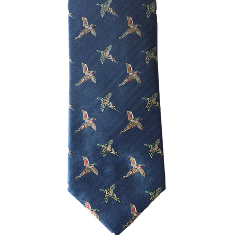 Bonart Ties Flying Pheasant Motif Silk Shooting Tie [product_tags] - Stuarts Outdoor