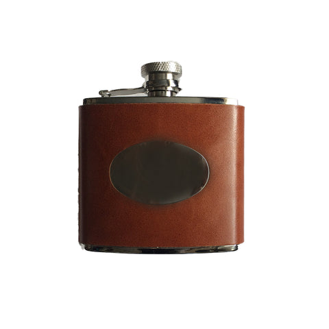 Brown Leather Hip Flask - 4oz