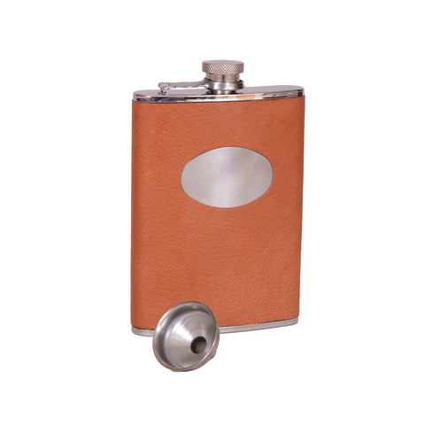 Brown Leather Hip Flask - 8oz