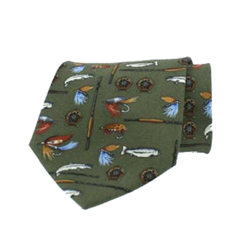 Hoggs of Fife Ties Fly Fishing Green Silk Country Tie [product_tags] - Stuarts Outdoor