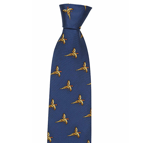 Hoggs of Fife Ties Flying Pheasants Navy Silk Country Tie [product_tags] - Stuarts Outdoor