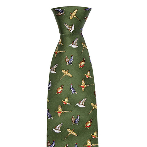 Hoggs of Fife Ties Mixed Birds Green Silk Country Tie [product_tags] - Stuarts Outdoor
