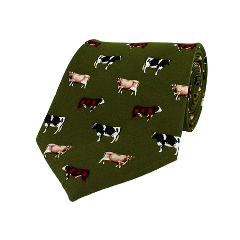 Hoggs of Fife Ties Mixed Cows Green Silk Country Tie [product_tags] - Stuarts Outdoor