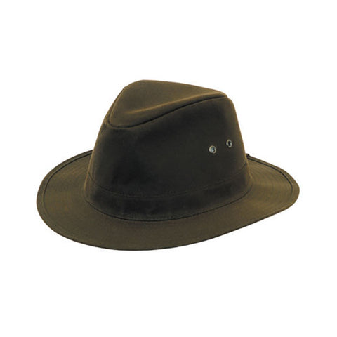Waxed Indiana Wide Brim Cotton Hat - Khaki Green
