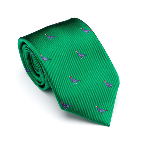 Laksen Ties Sitting Pheasant Blood Field Green Silk Tie [product_tags] - Stuarts Outdoor