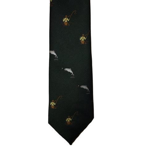 P. L. Sells Ties Fly Fishing Motif Polyester Tie [product_tags] - Stuarts Outdoor