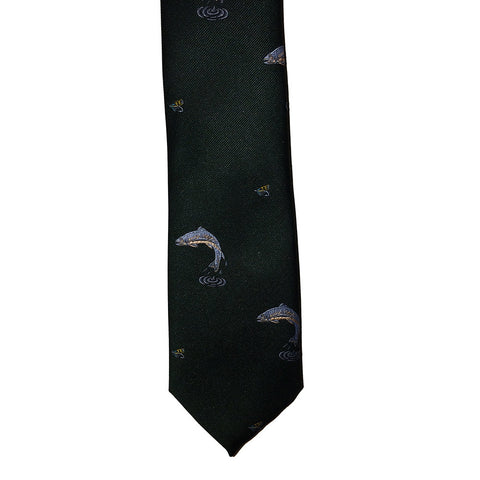 P. L. Sells Ties Leaping Fish Motif Polyester Tie [product_tags] - Stuarts Outdoor