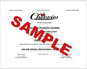 Israeli Behavioral Detection Certification Course