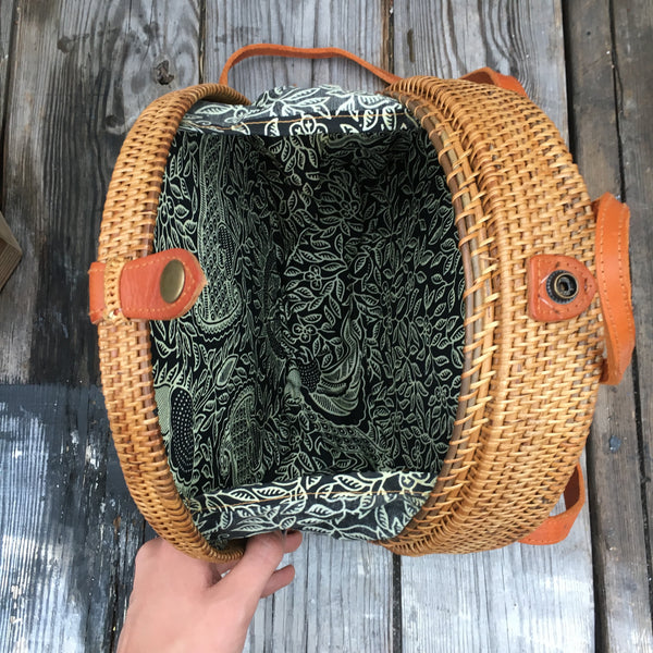 Large Handmade Indonesian Ata Grass Circle Rattan Straw Rucksack with Batik Lining