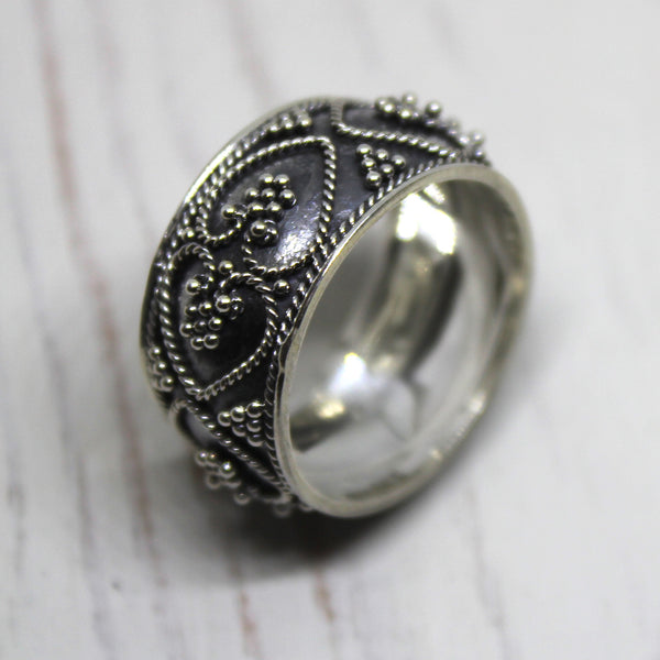 Double Heart Sterling Silver Balinese Ring