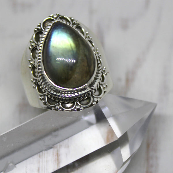 Labradorite Raindrop Sterling Silver Ring