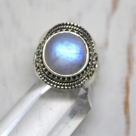 Full Moonstone Sterling Silver Ring