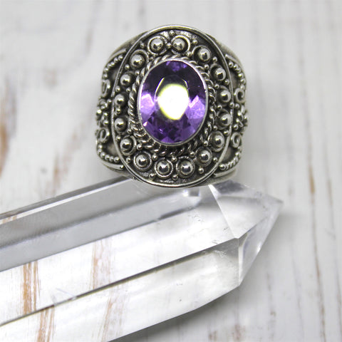 Amethyst and Sterling Silver Balinese Ring