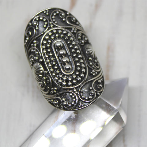 Sterling Silver Balinese Shield Ring