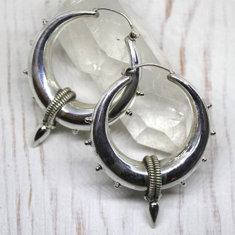 925 Sterling Silver Big Tribal Spike Earrings