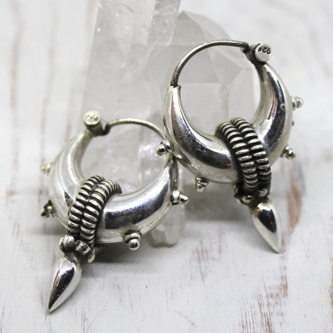 Handmade Sterling Silver Small Tribal Spike Earrings from Rajasthan