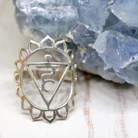Throat Chakra Sterling Silver Ring
