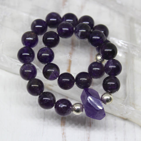 925 Sterling Silver and Amethyst Bracelet