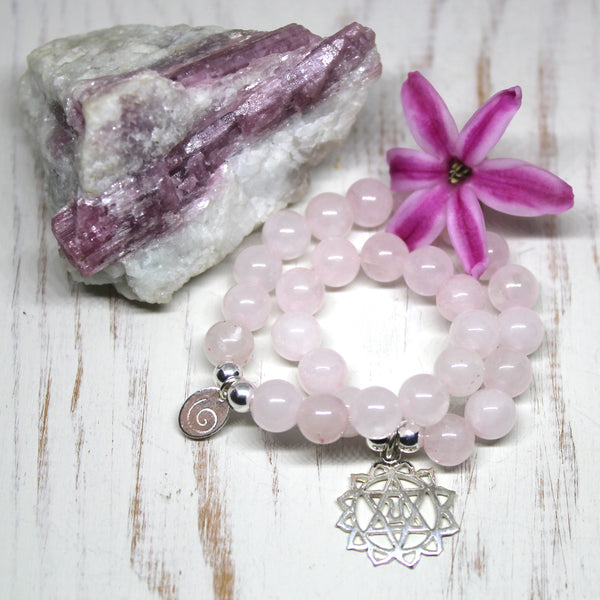 Heart Chakra Bracelet, Rose Quartz with Sterling Silver Pendant.
