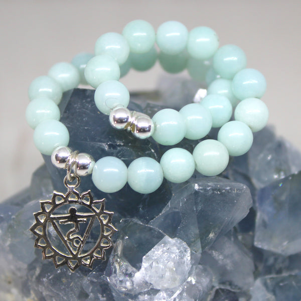 Throat Chakra Bracelet, Amazonite with Sterling Silver Charm