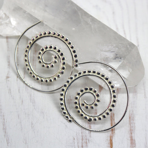 925 Sterling Silver Dotty Spiral Earrings