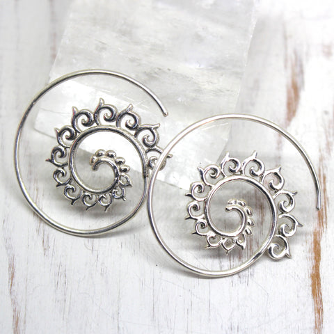 925 Silver 'Dhara' Spiral Earrings
