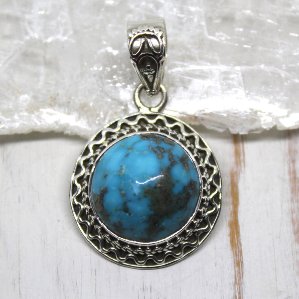 925 Silver, Turquoise and Pyrite Earth Pendant