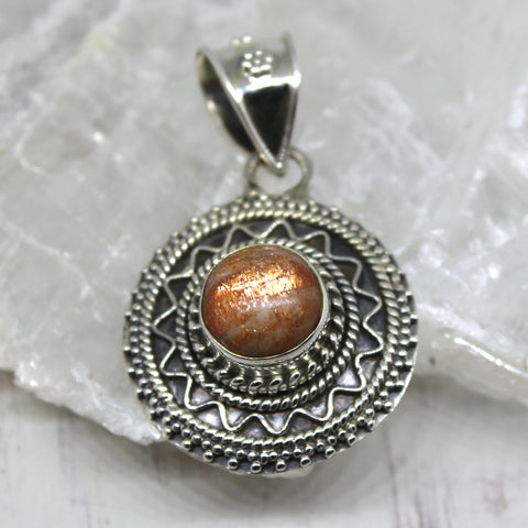 925 Silver Sunstone Shield Pendant