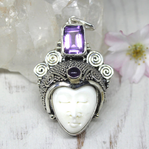 925 Sterling Silver and Amethyst Goddess Pendant