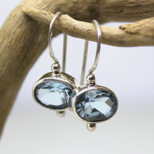 Handmade Balinese 925 Silver and Topaz Earrings