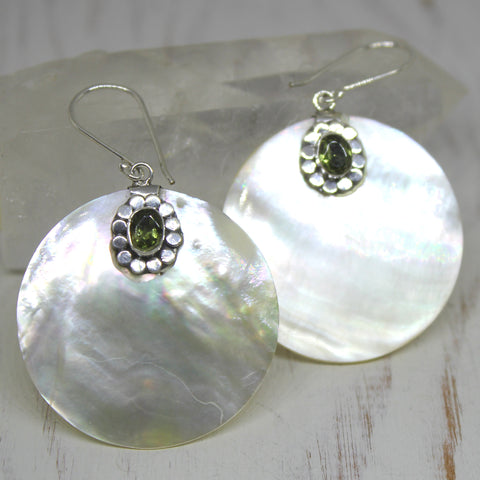 Handmade Mother of Pearl, Peridot and 925 Silver Earrings