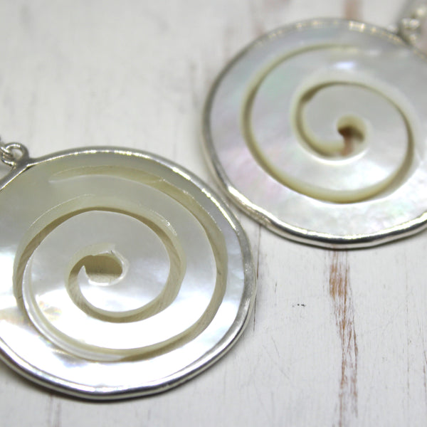 Handmade 925 Silver and Mother of Pearl Swirl Earrings