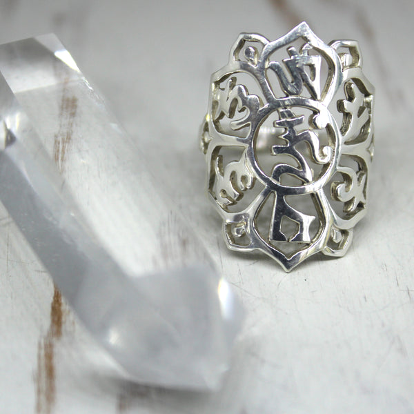 925 Silver 'Om Mani Padme Hum' Ring