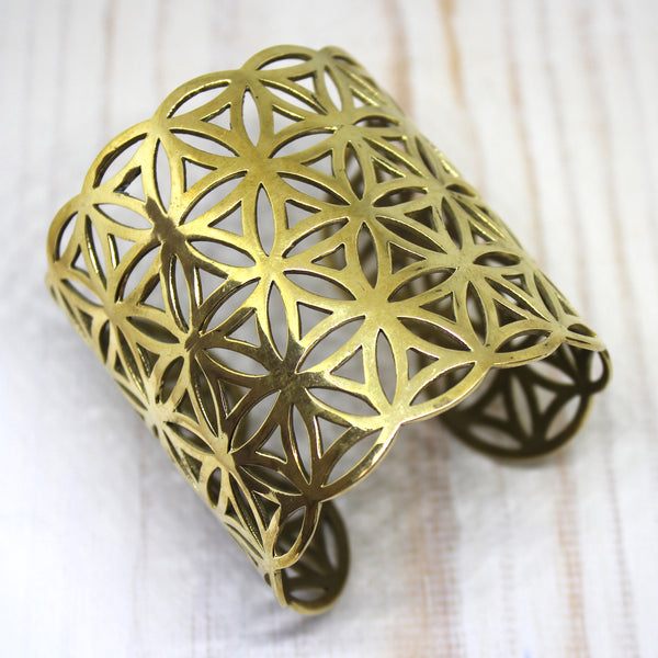 Indian Brass 'Flower of Life' Cuff