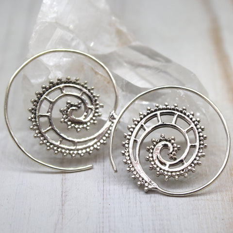 925 Silver 'Paroo' Spiral Earrings
