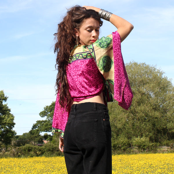 Recycled Indian Sari 'Gulabee' Butterfly Wing Wrap Top