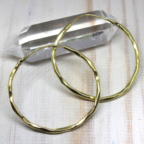 Simple Textured Brass Hoop Earrings
