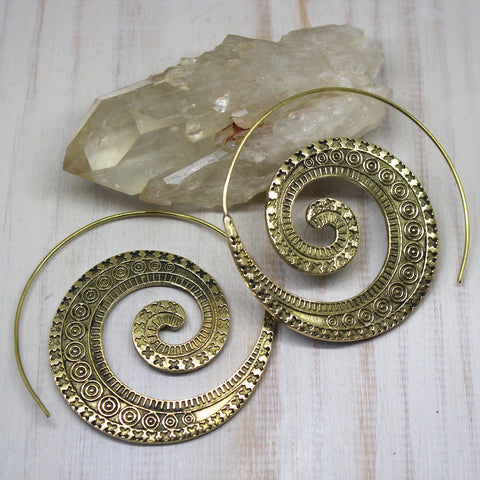 Handmade Brass 'Aarohi' Spiral Earrings