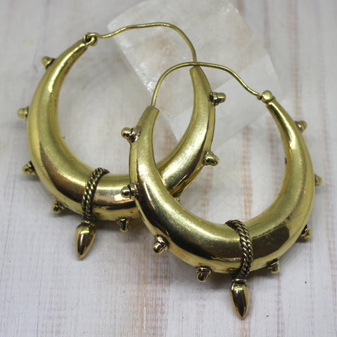 Handmade Large Brass Indian Spike Hoops