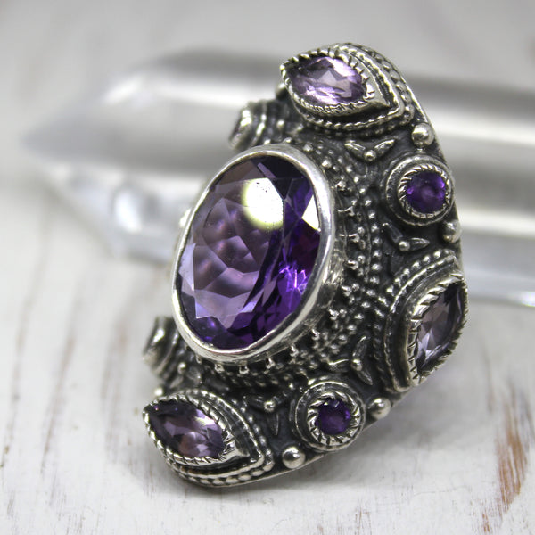 925 Silver and Amethyst 'Wisdom' Ring
