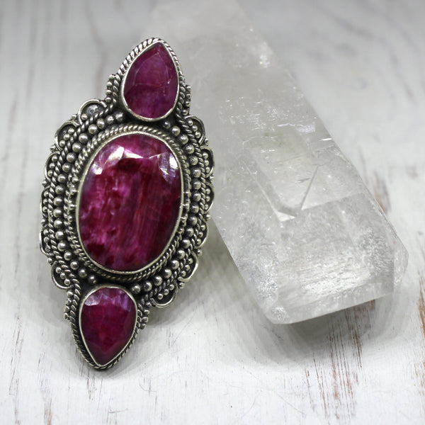 925 Silver and Ruby 'Fire' Ring