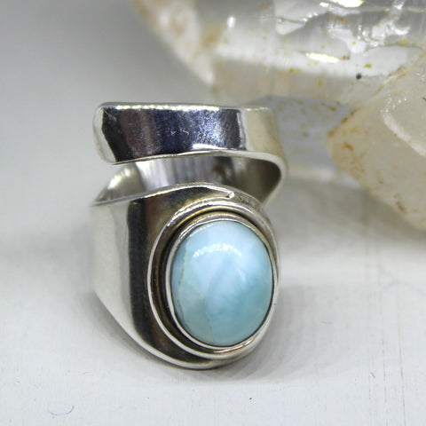 925 Silver and Larimar Ring