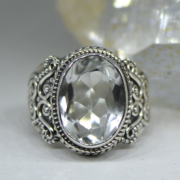 925 Silver and Crystal Quartz Ring