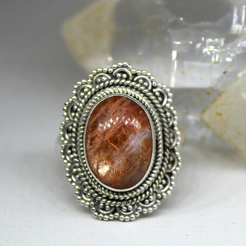 Sterling Silver and Sunstone Ring