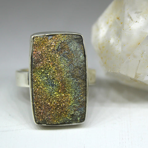 Russian Rainbow Pyrite and 925 Silver Ring