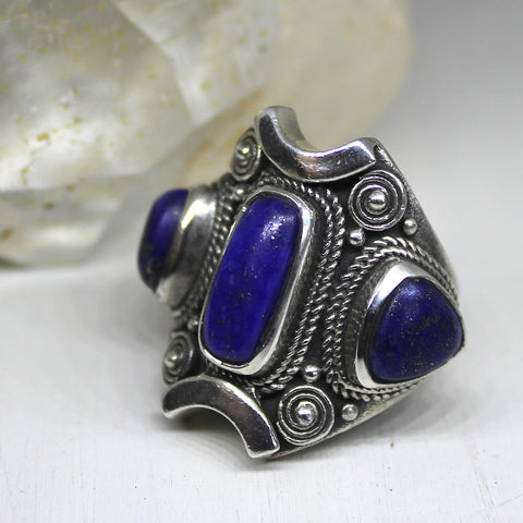 Handmade Lapis Lazuli and 925 Silver Ring