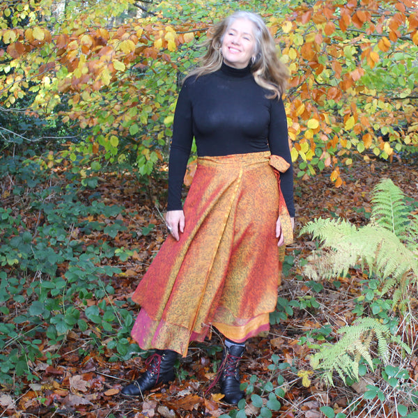 Recycled Indian Sari 'Fara' Wrap Skirt