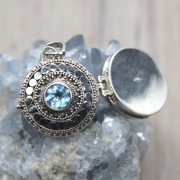 925 Sterling Silver Topaz Locket