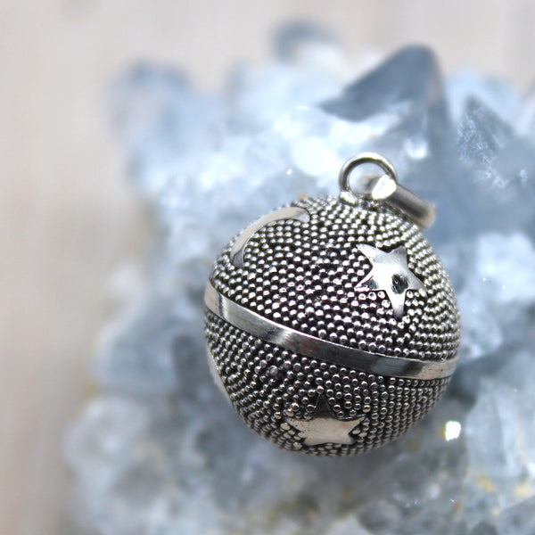 Sterling Silver Moons + Stars Harmony Ball Pendant