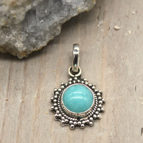 Little Larimar Sunshine Sterling Silver Pendant